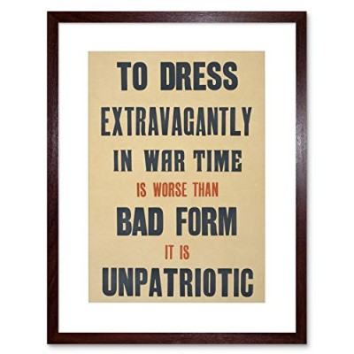 War WWI Dress Extravagantly Patriotism Britain Saving Thrift Art Framed Wall Art Print 戦争ドレス英国壁