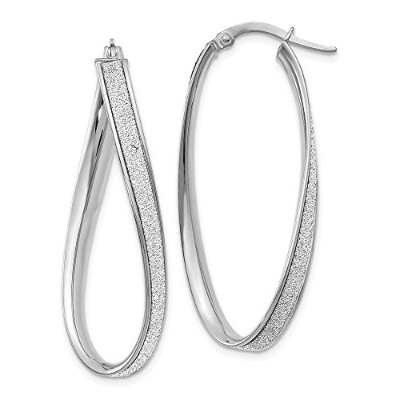 Beautiful White gold 14K Leslie's 14k White Gold Polished Glimmer Infused Oval Hoop Earrings comes...