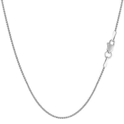 14k White Gold Round Diamond Cut Wheat Chain Necklace, 1.0mm, 20""