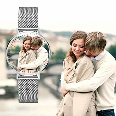 Hua meng PersonalizedフォトWatch forメンズレディースKids,カスタムMadeステンレススチールWatch with anyフォト