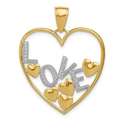 Beautiful rhodium plated gold and silver 14K 14K & Rhodium Love and Floating Hearts Pendant comes...