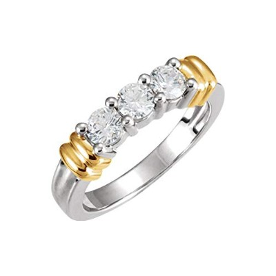 Beautiful Yellow gold 18K Yellow-gold 3Stne Annvrsry Rng Mtg For Rnd comes with a Free Jewelry Gift