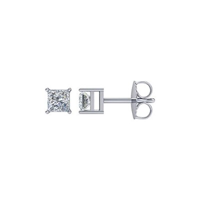 Beautiful White gold 14K White-gold Square 4-Prong Stud Earrings comes with a Free Jewelry Gift