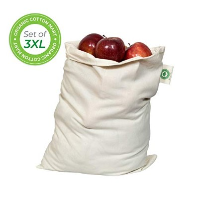 Muslin Organic Cotton Reusable Muslin Produce Bags - Set of 3 (3, X-Large - 14x18) by Organic...
