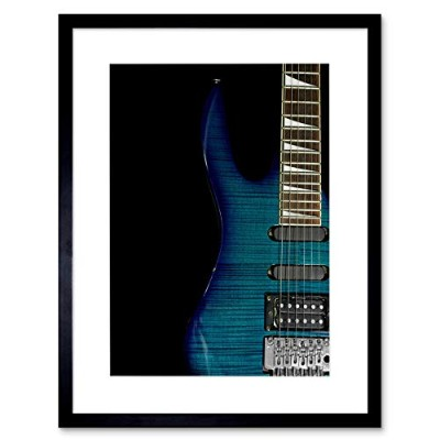 Music Instrument Photo Striped Electric Guitar Framed Wall Art Print 音楽写真電気のギター壁