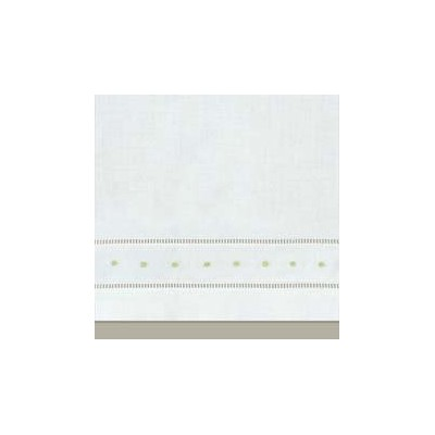 35.6cm x 55.9cm W Guest Towel, Hemstitch/GREEN PIN DOT