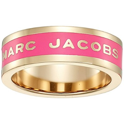 Marc Jacobs女性用バンドロゴディスクリング 6 ピンク