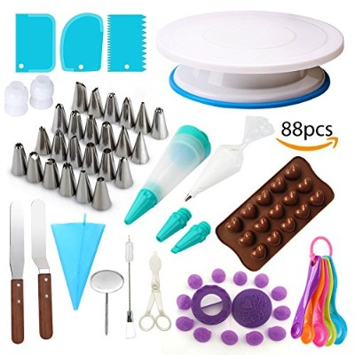 Cake Decorating Supplies Kit with Rotating Turntable Stand, Imprint & Tip Set, Frosting & Piping...