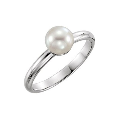 Beautiful White gold 14K White-gold Freshwater Cultured Pearl Ring comes with a Free Jewelry Gift