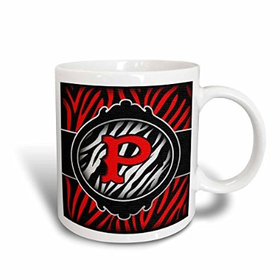 Dooni Designsモノグラム初期Designs – Wicked Red Zebra初期文字P – マグカップ 11-oz Magic Transforming Mug ホワイト mug...