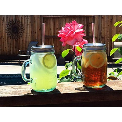 Authentic Mason jar mug with handle, 100% recycled glass, 18oz tumbler, top with plastic straw. by...