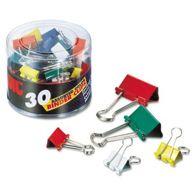 Binder Clips, Metal, Assorted Colors/Sizes, 30/Pack (並行輸入品)