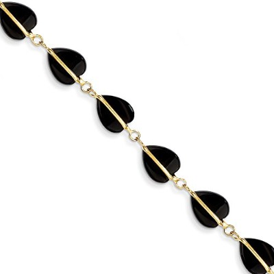 Beautiful Yellow gold 14K Yellow-gold 14k Black Onyx Bracelet comes with a Free Jewelry Gift