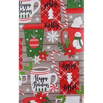 (150cm Round) - Christmas Cups and Mugs on Grey Wood Background Vinyl Flannel Back Tablecloth ...