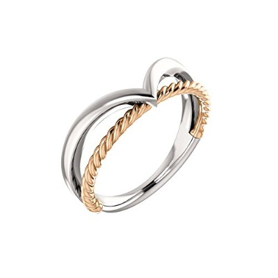 Beautiful Rose-and-white-gold Negative Space Rope Ring comes with a Free Jewelry Gift