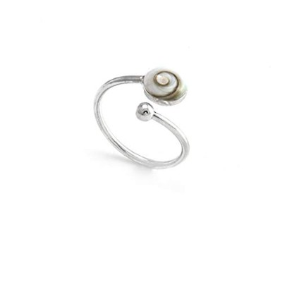 (L 1/2) - Silverly Womens .925 Sterling Silver White Shiva Eye Shell Adjustable Ring