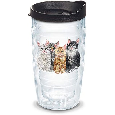 Tervis 1104621Kittens Insulated Tumbler with Emblem andブラック蓋、10オンス、クリア