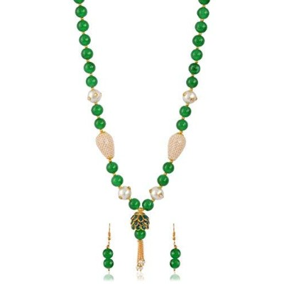 SGS JEWELS Green Brass Strand Necklace Set for Women (SGS -059)