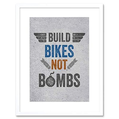 Quote Typography Build Bikes Bombs Stressed Framed Wall Art Print 見積もりタイポグラフィ自転車壁