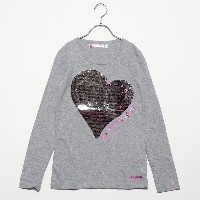 【SALE 70%OFF】デシグアル Desigual GIRL KNITTED LONG SLEEVE T-SHIRT (Grey/Black)