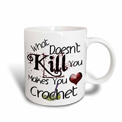 (330ml) - 3dRose What Doesnt Kill You Crochet with Hook Magic Transforming Mug, 330ml, Black/White