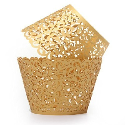 Sorive Pack of 48 Gold Filigree Little Vine Lace Laser Cut Cupcake Wrapper Liner Baking Cup Muffin...