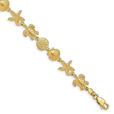 Beautiful Yellow gold 14K Yellow-gold 14k Turtle Sand Dollar Shell and Starfish 7.25in Link...