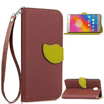 Lenovo P2 ケース, Vivid Knurling Tree Leaf Skin Lid Wallet カバー, Hanging Sling Credit ID Card Slot,...