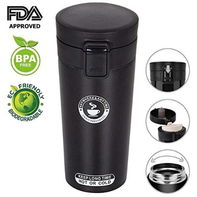 (350ml, Black) - Spill Proof Coffee Travel Mug, Double Wall Vacuum Insulated water bottle with lock...