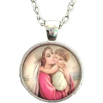 Mary Mother Of Baby Jesus Necklace Blessed Virgin Pendant Fashion Jewelry Glass Dome Necklace...