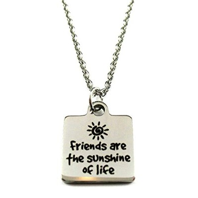 "FCL Designs Friends Are The Sunshine Of Lifeステンレススチールネックレス – 16 mm Square – 19.7 "" 2.4 MMチェーン"