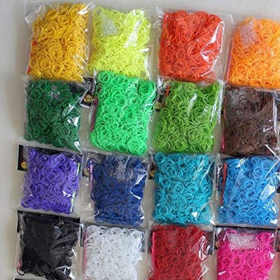 (4000PC) - 4000pc Quality Rainbow Rubber Bands Refill Bundle - Includes: 4000 Rubber Bands, 10...