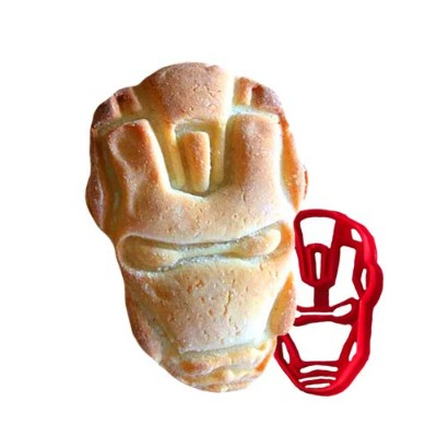SUPERHERO COOKIE CUTTER IRON MAN plastic mould for baking shortbread and biscuit dough pastry stamp...