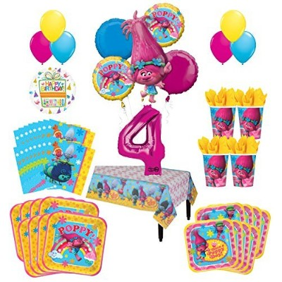 Trolls Poppy 4th Birthday Party Supplies 8 Guest Kit and Balloon Bouquet Decorations
