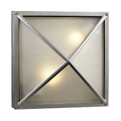 PLC 31700 SL Danza - Two Light Outdoor Wall/Flush Mount, Architectural Silver Finish with Frost...