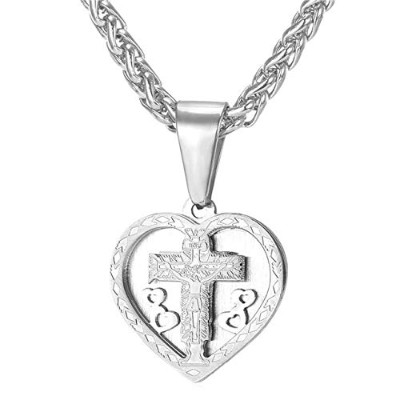 Platinum Plated Love Of the Jesus Trendy Cross Pendant Heart Christian Necklace [並行輸入品]