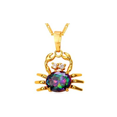 Gold Color Crab Charm Nautical Sea Life Cubic Zirconia Astrology Cancer Necklace [並行輸入品]
