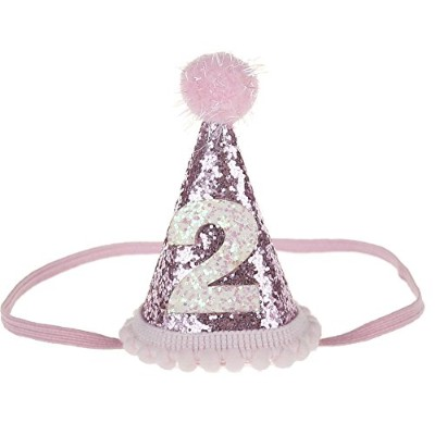 (Pink 2) - Petsidea Glitter Dog First Birthday Cone Hat Mini Doggy Cat Kitty Birthday Party Hats