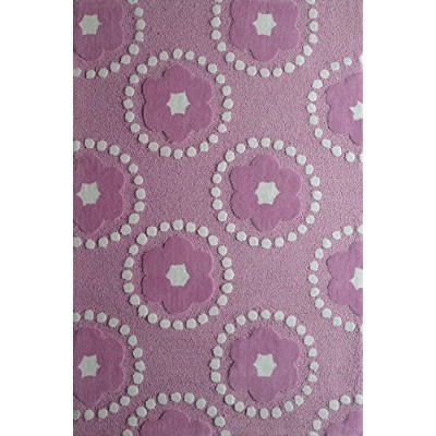 Kids RUG Pink Petals ***Exact Size 4 Feet By 6 Feet*** Hand Tufted by Rug Factory Plus