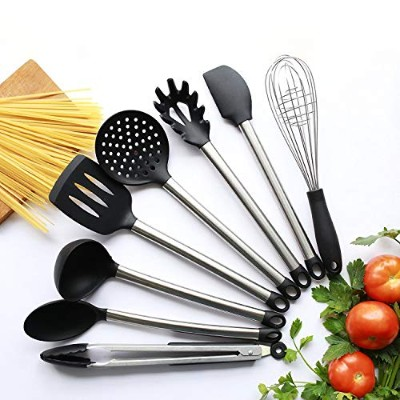 8 Piece Kitchen Utensil Set - Stainless Steel and Black Silicone - Modern Nonstick Utensils Cooking...