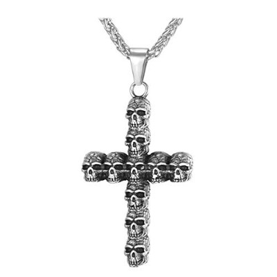 Christian Statement Stainless Steel Skeleton Cross Chain Pendant Gothic Necklace [並行輸入品]
