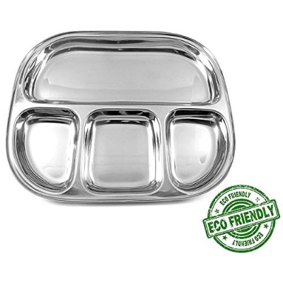 Stainless Steel Oval Shape Thali Plate, 4 Compartment Thali, Compartment Divided Dinner Plate