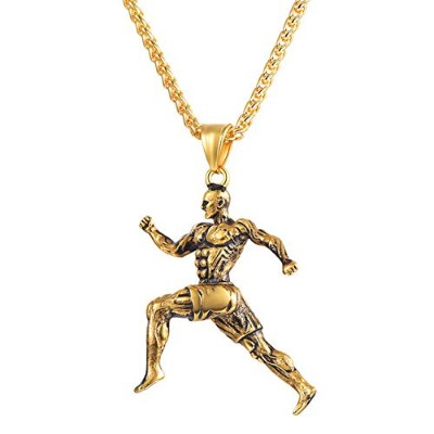 Muscle Bodybuilding Fitness Man Sports Running Gold Color Chain Pendant Necklace [並行輸入品]