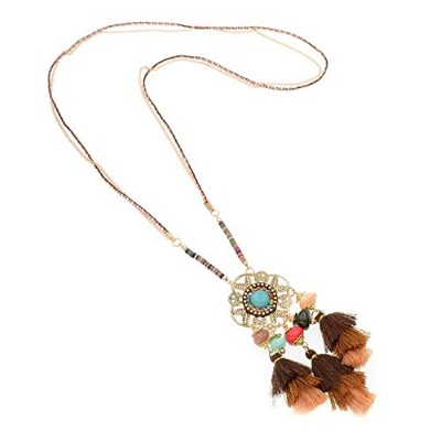 Colorful Bohemian Tassel Statement Brown Stone Rope Chain Pendant Necklace [並行輸入品]