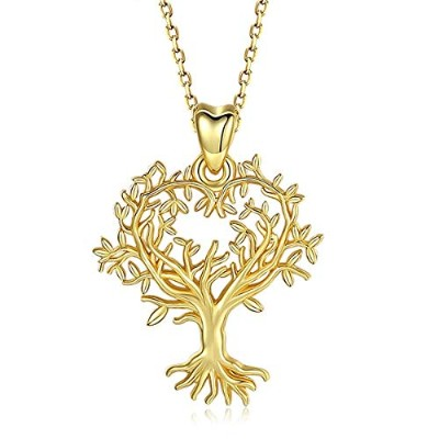 Sterling Silver Tree of Life Pendant Necklace Gold Plated Fine for Women [並行輸入品]