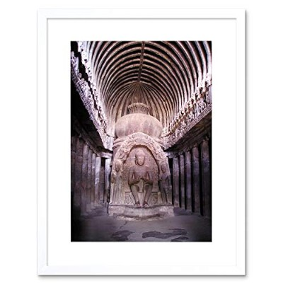 Photo Interior Temple Statue Buddha Carving Framed Wall Art Print 写真インテリア寺院像壁