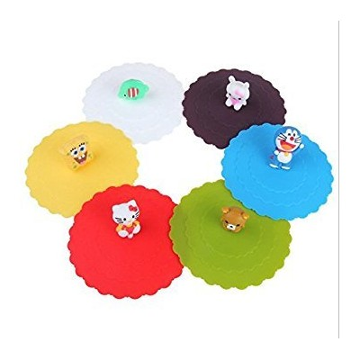Astro shop 6pc x Adorable Anti-dust Silicone Glass Cup Cover Coffee Mug Cover Lids Suction Seal Lid...