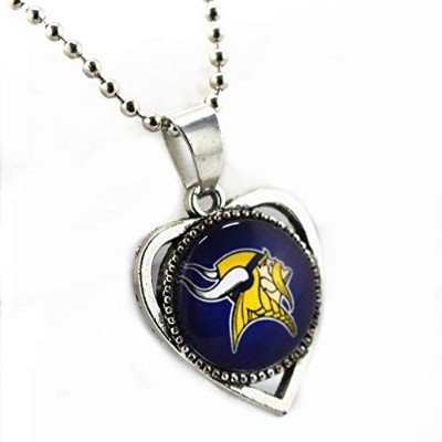 Heart Minnesota Vikings Casual Sporty Football Sports Glass Alloy Pendant Team Chains Necklace ...