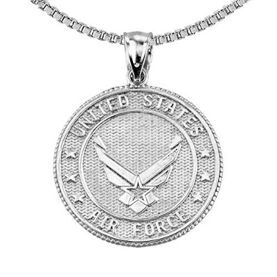 US Air Forceスターリングシルバーwith Prayer Blessingペンダントネックレス