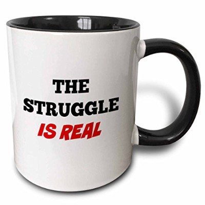 (330ml) - 3dRose The struggle is real - Two Tone Black Mug, 330ml (mug_202769_4), 330ml, Black/White